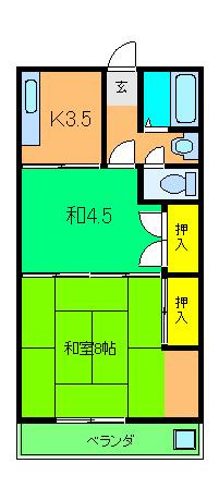 洛西マンション№2 403号室の間取り