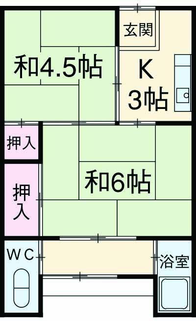 藤栄荘 2F10号室の間取り