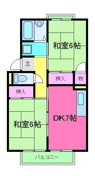 プレジールK 105号室の間取り