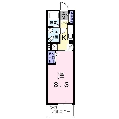 アンフィニ-唐崎A・02040号室の間取り