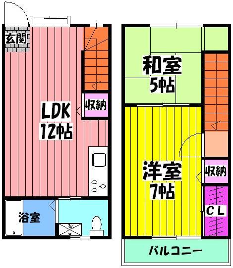 高田貸家(東助松町)・1号室の間取り