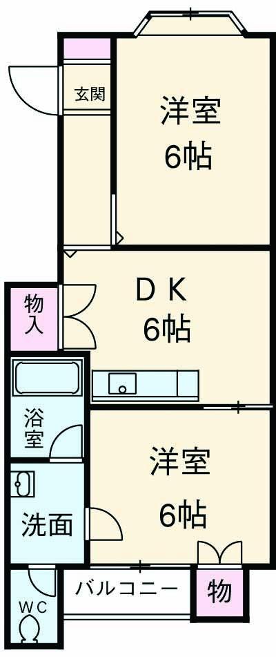 ボナンザ南山田・301号室の間取り