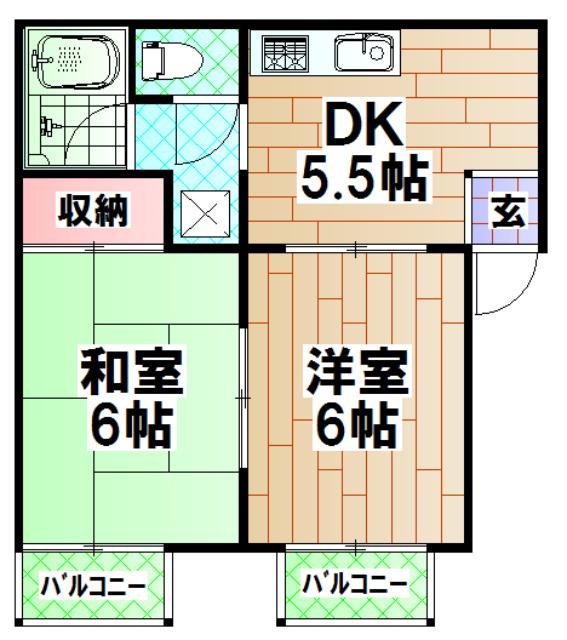岸和田城ハイツ 201号室の間取り