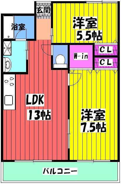フィアテル岸和田 102号室の間取り