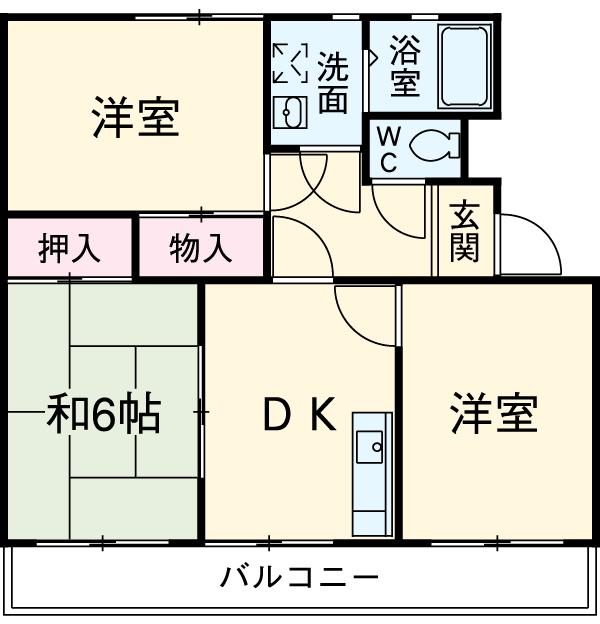 シティ・ナカヤマ A 202号室の間取り