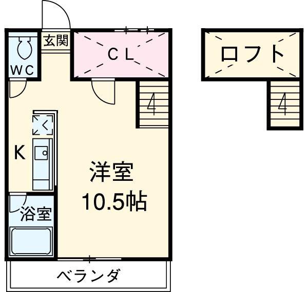 セザンヌ新栄・107号室の間取り
