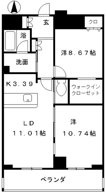 レジディア東桜Ⅱ 1303号室の間取り