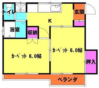 田島ハイツⅡ 2-1号室の間取り