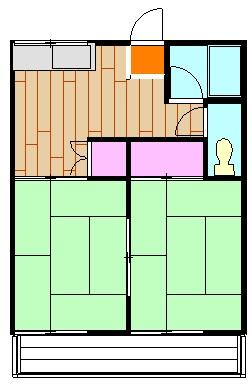 コーポ青山 2-2号室の間取り