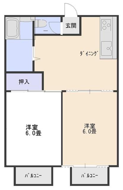 コーポレート前箱田 201号室の間取り
