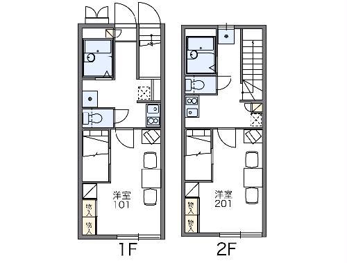 レオパレスサンライズNOAⅡ・201号室の間取り
