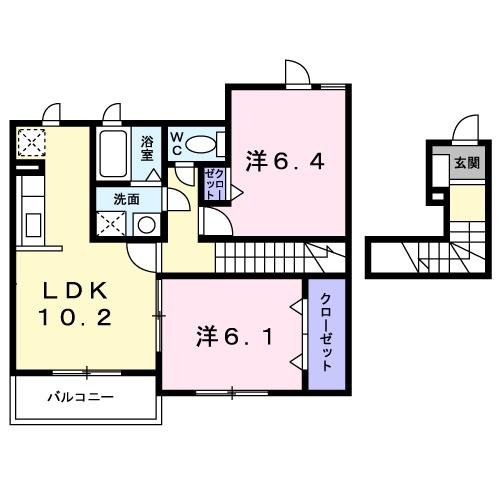 アルモニ-B 02020号室の間取り