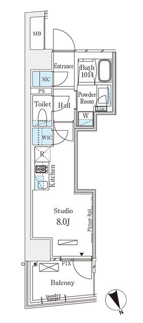 パークナードフィット南青山Vista・1101号室の間取り