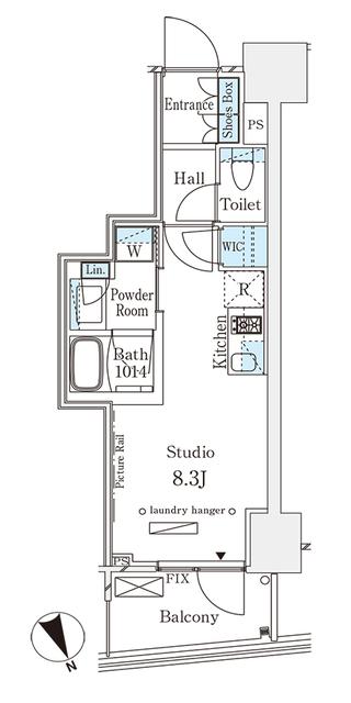 パークナードフィット南青山Vista・1102号室の間取り