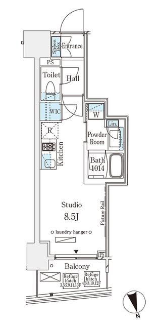 パークナードフィット南青山Vista・1105号室の間取り