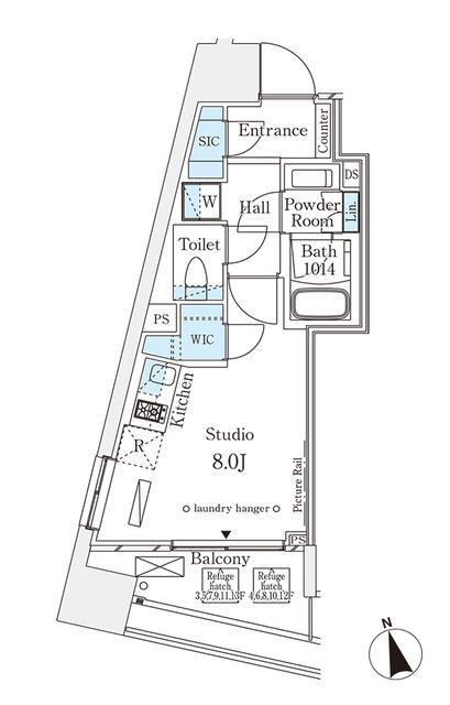 パークナードフィット南青山Vista・1107号室の間取り