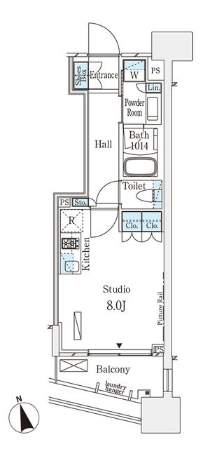 パークナードフィット南青山Vista・1208号室の間取り