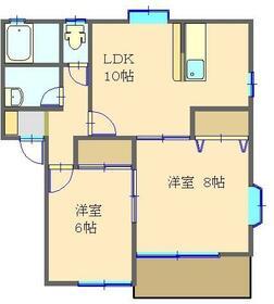 鈴の木ニュータウン・B102号室の間取り