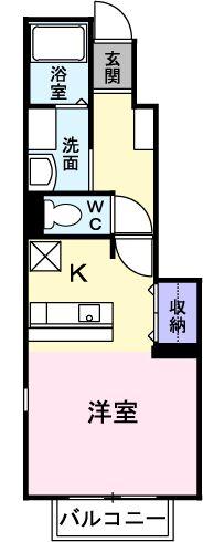 メリ-ロ-ザ B・01030号室の間取り