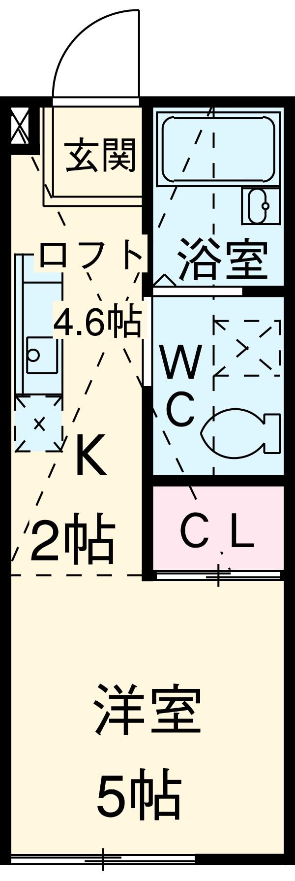 ハーミットクラブハウス神大寺Ⅱ・202号室の間取り