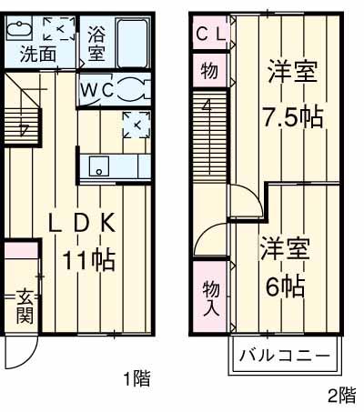 FavoRiteⅠ・Ⅱ・2-102号室の間取り