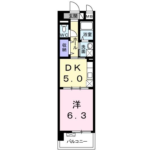 シカタ シャンブレットⅠ・05080号室の間取り