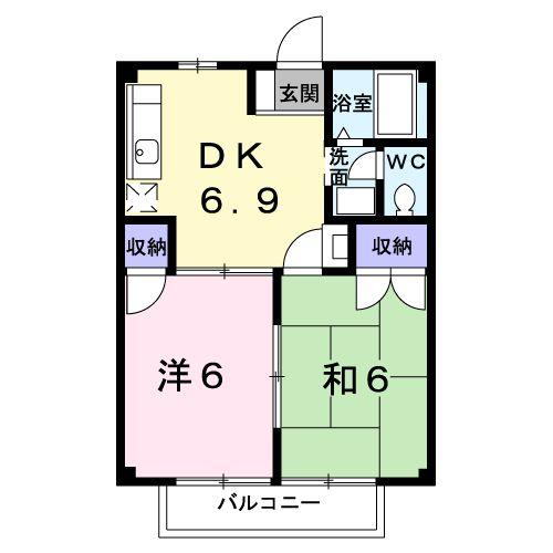 コーポラスアメニティ足崎B・02020号室の間取り