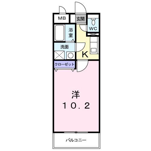 HYコート宮脇・01030号室の間取り