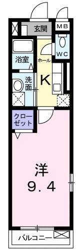 セレノ武庫川・01010号室の間取り