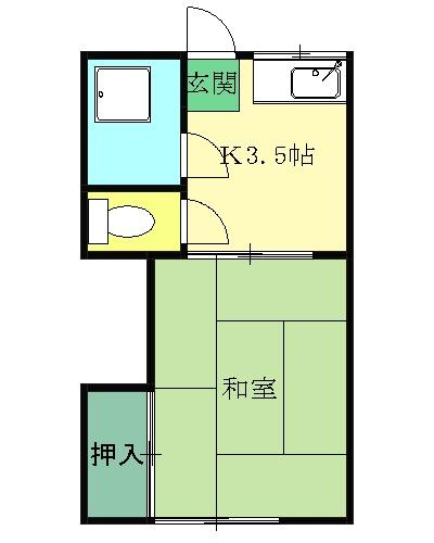 桃山荘 206号室の間取り
