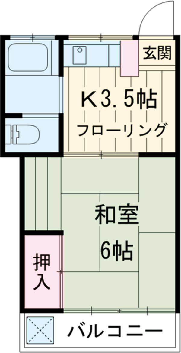 第1鶴巻荘・202号室の間取り