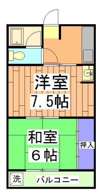 ハイツ大覚寺 206号室の間取り
