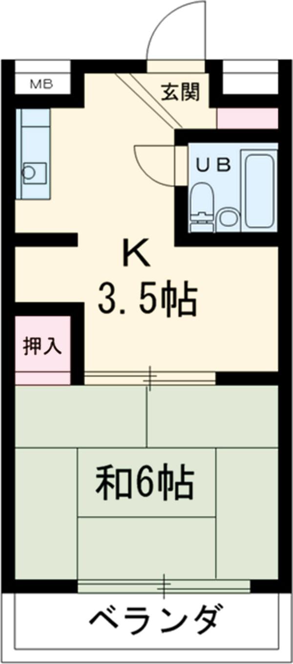 富士マンション・102号室の間取り