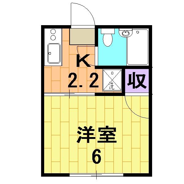 シティハイム尾崎・201号室の間取り