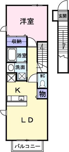 クラーベルⅠ 02030号室の間取り