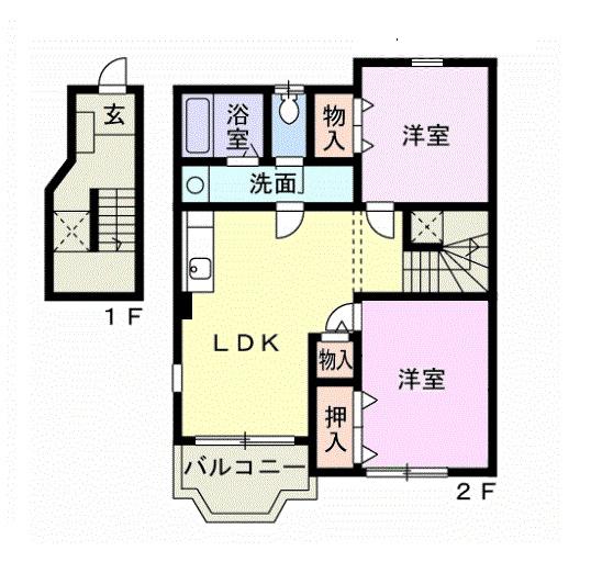 レフィナード・エムA 02020号室の間取り