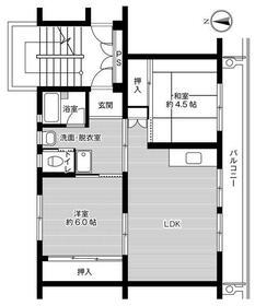 ビレッジハウス高道祖1号棟・0401号室の間取り