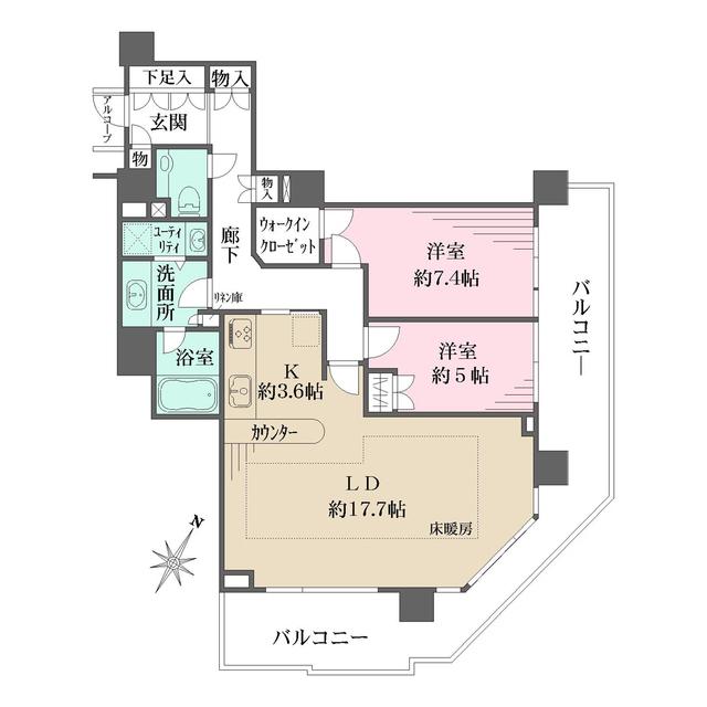 ザ・ヨコハマタワーズ タワーウエスト 3307号室の間取り