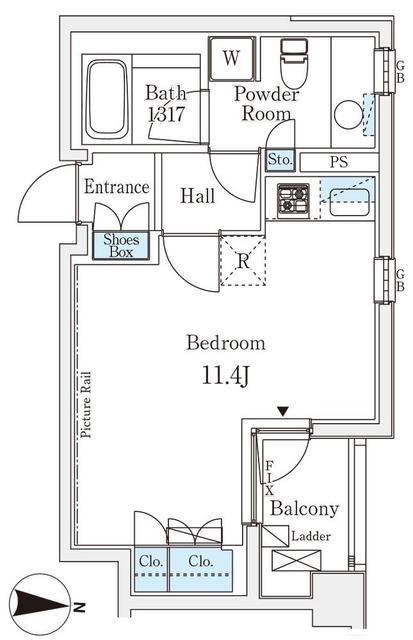 アパートメンツ元麻布・206号室の間取り