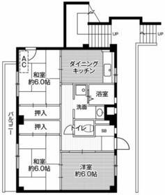 ビレッジハウス川井宿3号棟・0304号室の間取り