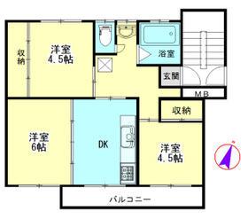 加茂川団地5号棟 304号室の間取り