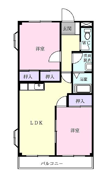 ファインパーク松ヶ瀬B棟・02040号室の間取り