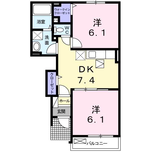 ストロベリ-ハウス B・01030号室の間取り