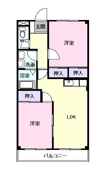 ファインパーク松ヶ瀬B棟・02030号室の間取り