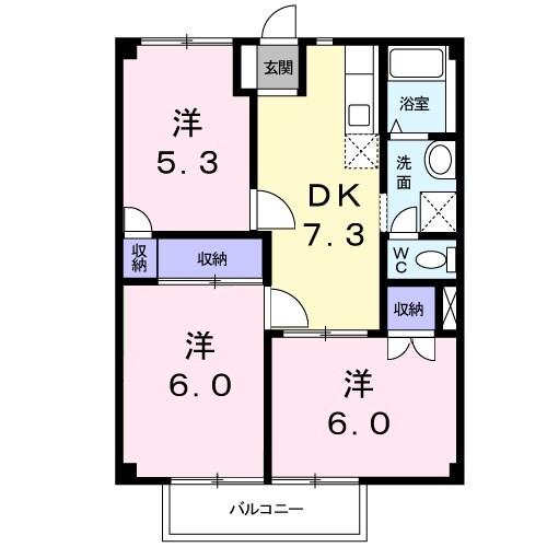 アンプルール稲田 02030号室の間取り