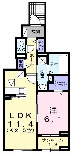 武蔵野ハイツ2・01040号室の間取り