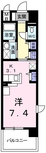 アンジュール 鶴川・03010号室の間取り