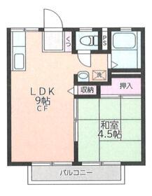 ダリアMアパートメント・206号室の間取り