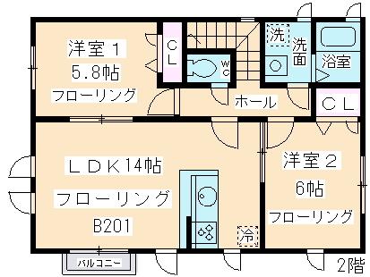 Musashino TERRACE・B201号室の間取り