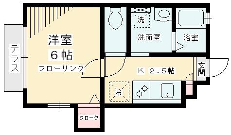 グリシーヌ経堂・B101号室の間取り